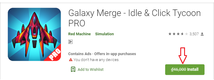 Giveaway Android App Galaxy Merge - Idle & Click Tycoon PRO